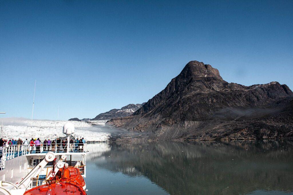 Aleyah Solomon looks out over a glacier